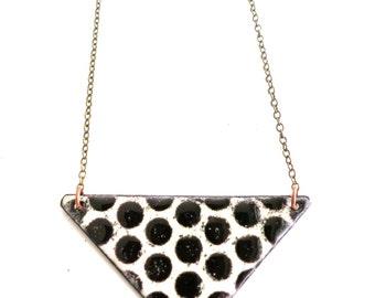 Black and Cream Enamel Necklace