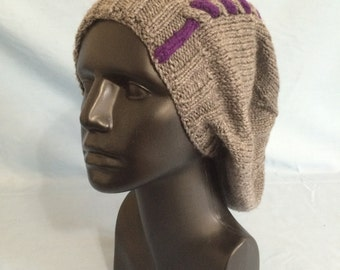 gray & purple slouchy knit hat