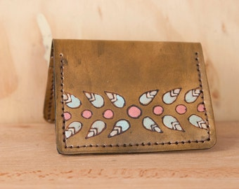 Front Pocket Wallet - Small Card Wallet in the Petal Pattern with Modern Flowers and Leaves - Sage, pink and antique brown
