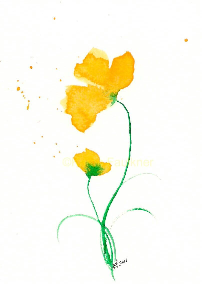 Art Print Of Yellow Watercolor Flowers Duet