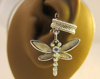Dragonfly Ear Cuff, Dragonfly Earrings, White Ear Cuff, Dragonfly Jewelry, Insect Ear Cuff, Insect Earrings, No Piercing Ear Cuff, Gifts