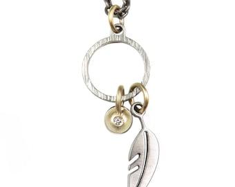 Diamond Feather Hoop Necklace