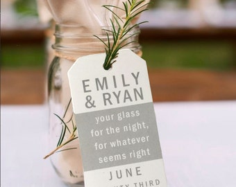 Personalized Wedding Tags, Your Glass for the Night Tags, Supplies, Gift Tags, Bridal Favor, Wedding, Party Favor, Gift Tags - Set of 24