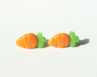 Cute Little Carrot Earrings Polymer Clay Jewelry