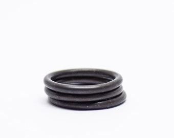 Oxidized Black Simple Stacking Ring Set for Men