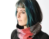 Pink and navy blue snood, Pink patchwork Cowl Scarf Neckwarmer, Womens fabric and lace cowl