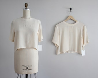 shell silk crop top | cropped silk blouse | vintage silk crop top