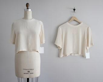 shell silk crop top | cropped silk blouse | vintage silk crop top
