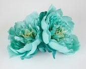 TWO Medium Turquoise Aqua Blue Peonies -  4.25 Inches - Silk flower - Artificial Flower - ITEM 0281