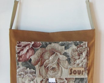 ON SALE On My Way Caramel and Floral Tapestry Open Top Messenger with adjustable cotton webbing strap