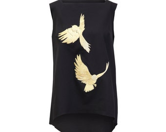 Embroidered Pinafore Simone Top. Black Structured Modern Jumper Dress. Metallic Gold Embroidery Dress. Gold Foil Birds