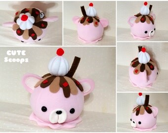 Cute Scoops- Strawberry Ice Cream-  READY TO SHIP