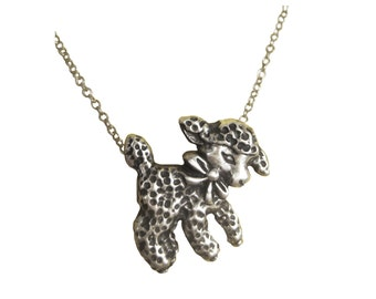 Lamb Necklace sheep silver gold pendant charm little