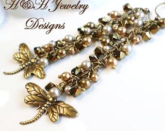 Dragonfly Earrings, Antique Bronze Swarovski Crystal Long Earrings, Brass Dragonfly Crystal Pearl Earrings, Long Pearl Earrings, Bronze