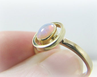 Elegant Opal Halo Ring, Fiery Antique Opal Solitaire, Solid 14K Gold, Classic and Dainty Design