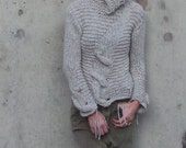 Silver gray Cable sweater, women's alpaca sweater with cable detail