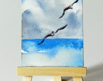 Mini Bird Art, Flying Gulls Watercolor, Tiny House Artwork,  Shore Birds, Original ACEO, Optional Mini Easel