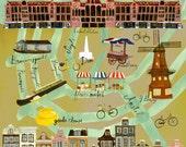 Amsterdam Map, Amsterdam Map Illustration, Map of Amsterdam NL, Vintage Map Print, City of Amsterdam Netherlands Map, Handmade Map