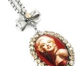Marilyn Monroe Jewelry, Marilyn Necklace, Movie Star, Crystal Pendant, Marilyn Monroe Pendant