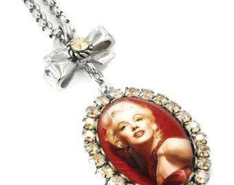 Marilyn Monroe Jewelry, Marilyn Necklace, Movie Star, Crystal Pendant, Marilyn Monroe Pendant in Stainless Steel