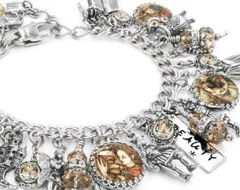 Beauty and the Beast, Fairytale Jewelry, Beauty Bracelet, Fairytale Charm Bracelet, Beauty and the Beast Jewelry