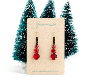 Gift For Women - Red Drop Earrings - Red Jewel Earrings - Vibrant Red Jewel Earrings - Gift For Woman - Gift For Her