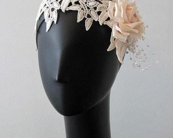 Venice Lace Blushing Rose Headband