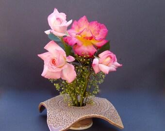 Handmade Pottery Vase / Tan Ceramic Vase /