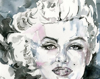 """Marylin Goddess Watercolor Painting - Canvas Art Print - from Original watercolor painting """"Goddess No. 4"""" by Kathy Morton Stanion  EBSQ"""