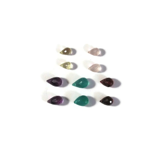 10 Gemstone Beads, Natural Gemstone Mix, Garnet, Amethyst, Green Onyx, Rose Quartz & Lemon Quartz Briolette Mix (B-Mix4)