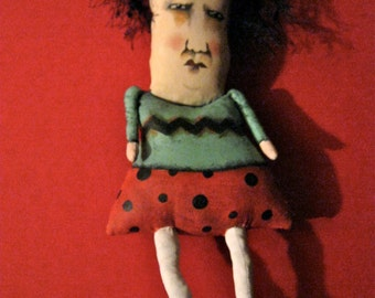 weird art doll-  Sandy Mastroni , ooak- Sweetheart Sally--  odd doll , strange , cranky doll