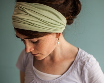 Soft MINT Long Stretch Cowl Garlands of Grace | headcovering hair scarf headwrap