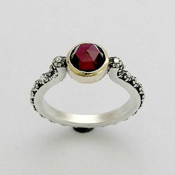 Garnet ring, Alternative engagement ring, gemstone ring, thin ring, floral ring, silver gold ring, Woodland ring - Your passion R0166Z