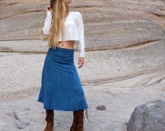 Hemp Women's Princess Seam Below Knee Skirt ( light hemp and organic cotton knit ) - organic skirt