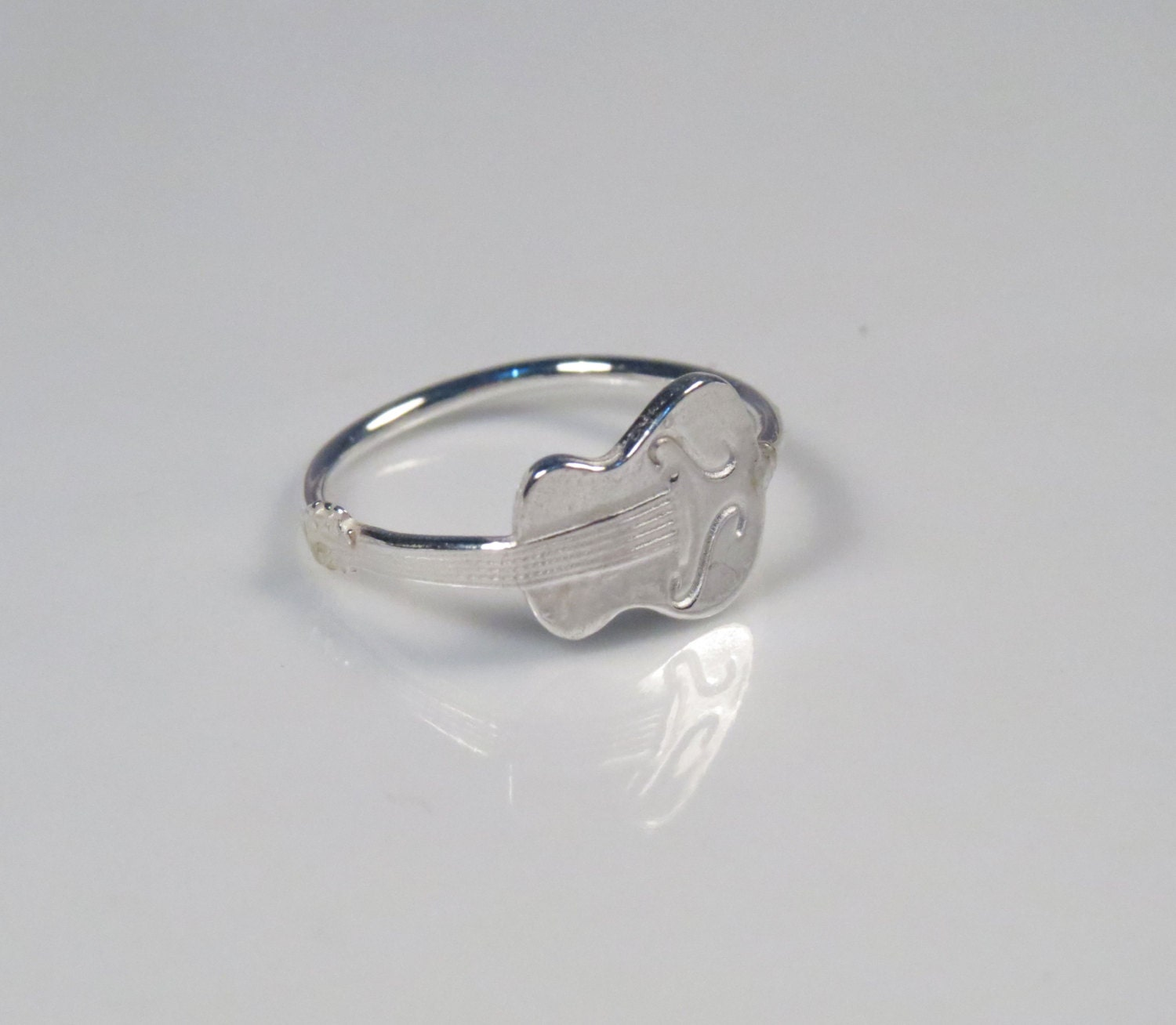 silver guitar ring ring novelty ring guitar jewelry