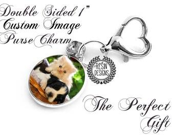 Pet Memorial Charm, Custom Purse Key Fob, Personalized, Double Sided, Wedding Gift, Hang Tag, Bouquet Charm, Photo Charm, Memory Charm