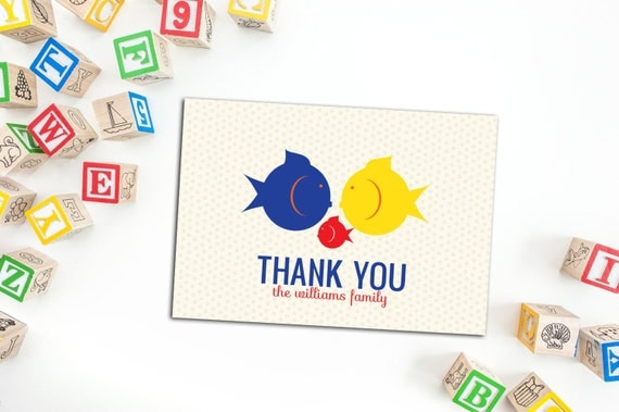 Smooching Fish Family Thank You Cards, Set of ten Note Cards, Fun Baby Shower Thank You cards, Personalized Note Cards, Fun Custom Note Card