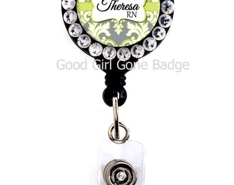 Retractable Badge Reel - Grey Green Damask - Personalized Name with Swarovski Rhinestones