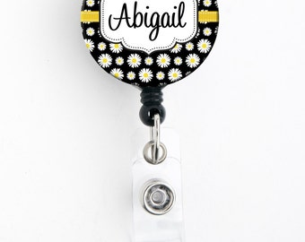 Retractable ID Badge Holder - Personalized Name - Daisy Black or Blue - Badge Reel, Steth Tag, Carabiner, Lanyard