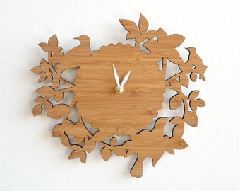 Wood Clock, Wall Clock, Unique Wall Clocks, Birds on Branches