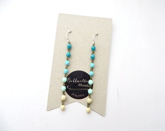 Turquoise Earrings // Long // Gifts For Friends // Dotted Line Earrings // Colorful // Ombre // Sister Gift // Under 20