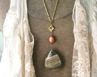 Long tribal gemstone beaded necklace. Tiedupmemories