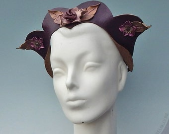 Mulberry Fae Leather Headpiece - Adult Costume, Fantasy Crown in Shimmering Shades of Burgundy, Wine, Rose and Bronze