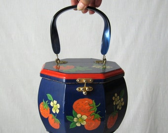 Wooden Box Purse 70s Navy Blue Floral Purse with Strawberries Decoupage Purse 1970s