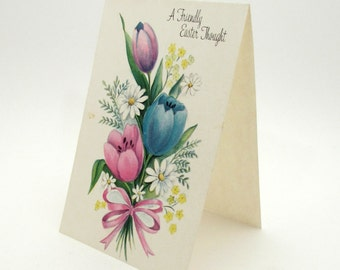 Vintage Greeting Card - Easter - flowers - blank inside - vintage note card - blank note card