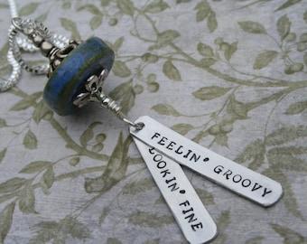 Born Cross Eyed Grateful Dead song lyrics hand-stamped aluminum pendant hanger Feelin Groovy Lookin Fine  festival jewelry hippie necklace