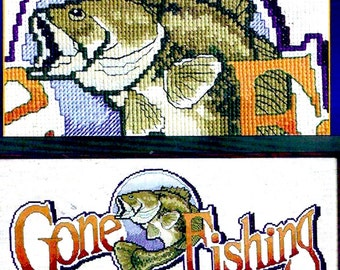 Gone Fishing Kit Counted cross stitch embroidery Designs for the needle Signature series 5421 Text Quote Mens Husbands fathers Gift