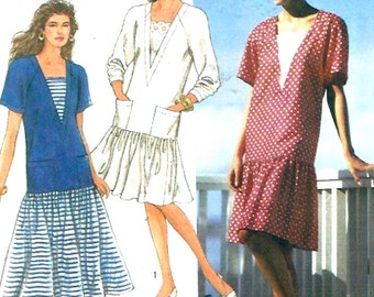 Dropped waist dress Spring summer dress 20s style sewing pattern Simplicity 7323 Uncut Sz Petite to XL