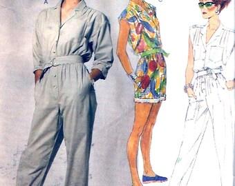 80s summer jumpsuit belt long or short jumpsuit vintage sewing pattern 80s McCalls 3068 Sz 10 Uncut
