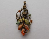 Autumn Leaves Pendant -- Changing Autumn Leaf Sprig Pendant, Sculpted Antique Brass Wire, Swarovski Crystals